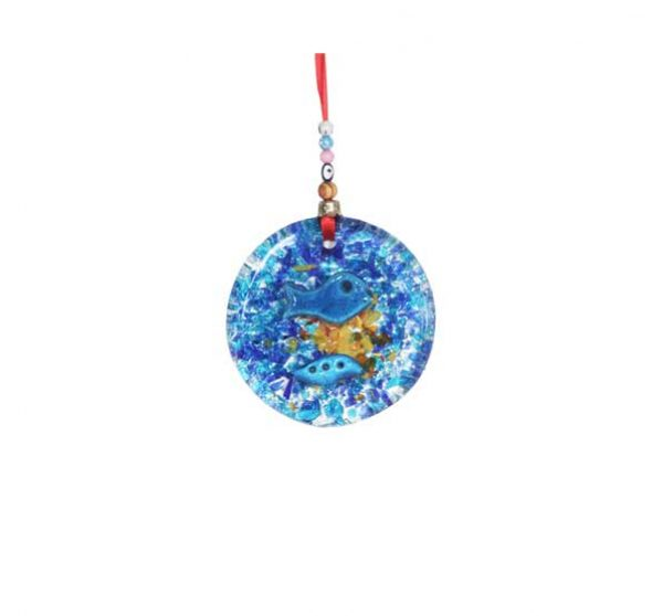 thick glass small round wall hanging