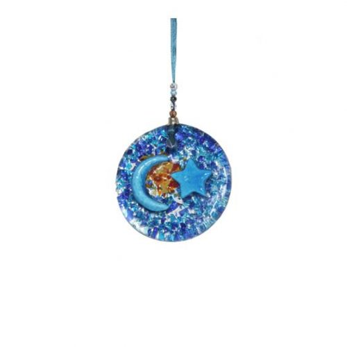 thick glass round small wall hanging