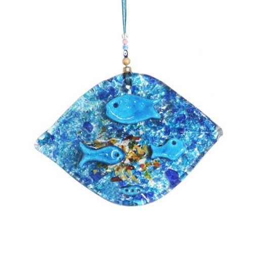 THick glass wall hanging fish
