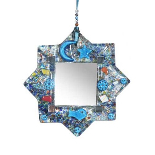 Thick glass wall hanging mirror