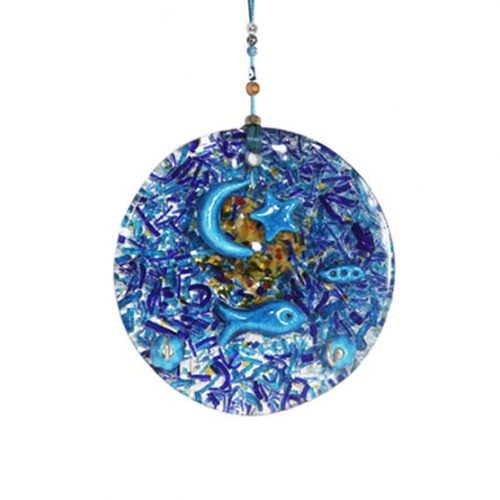 thick glass large round wall hanging